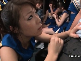 Horny asian cheerleader is..